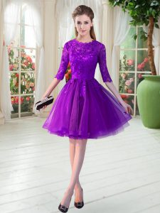Inexpensive Knee Length Purple Pageant Dresses Tulle Half Sleeves Lace