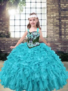 Attractive Aqua Blue and Turquoise Straps Lace Up Embroidery and Ruffles Child Pageant Dress Sleeveless