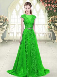 Scoop Cap Sleeves Pageant Dress Toddler Beading and Lace and Pick Ups Green Tulle