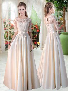 Charming Scalloped Half Sleeves Lace Up Pageant Dresses Champagne Satin