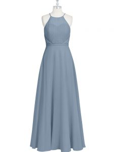 Glittering Empire Pageant Gowns Grey Halter Top Chiffon Sleeveless Floor Length Zipper