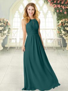 Peacock Green Empire Chiffon Scoop Sleeveless Ruching Floor Length Zipper Custom Made Pageant Dress
