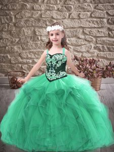 Sleeveless Floor Length Embroidery and Ruffles Lace Up Pageant Dress Womens with Turquoise