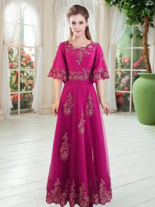 Custom Design Fuchsia Half Sleeves Tulle Lace Up Glitz Pageant Dress for Prom and Party