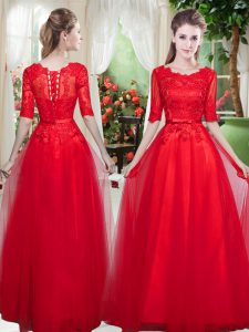 Red Lace Up High School Pageant Dress Lace Half Sleeves Floor Length
