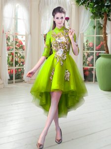 High Low Yellow Green Pageant Dress Wholesale Tulle Half Sleeves Appliques