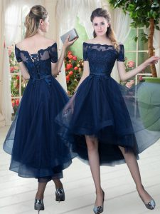 Off The Shoulder Short Sleeves Lace Up Pageant Dress for Womens Navy Blue Tulle
