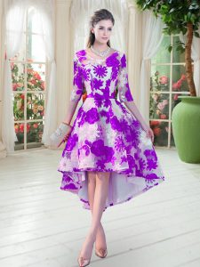Classical White And Purple Lace Up Scoop Belt Pageant Dress for Teens Lace Half Sleeves