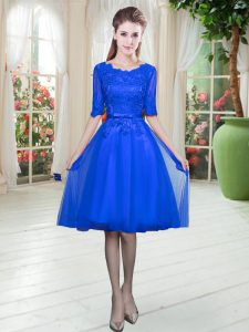 Fabulous Royal Blue Half Sleeves Lace Knee Length Pageant Gowns