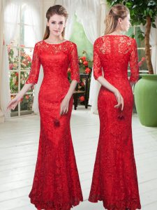 Half Sleeves Floor Length Zipper Pageant Gowns in Red with Lace