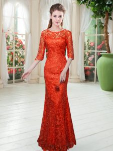 Low Price Orange Red Half Sleeves Lace Floor Length Winning Pageant Gowns