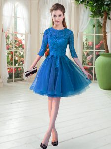 Latest Scalloped Half Sleeves Tulle Pageant Dress for Womens Lace Zipper