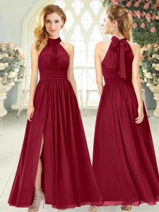 Ankle Length Empire Sleeveless Wine Red Pageant Gowns Zipper