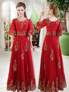 Floor Length Lace Up Pageant Dress for Womens Red for Prom and Party with Lace