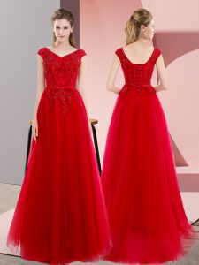 Shining Short Sleeves Tulle Floor Length Sweep Train Lace Up Pageant Dresses in Red with Beading and Lace