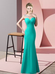 Scoop Sleeveless Pageant Gowns Floor Length Beading Turquoise Satin