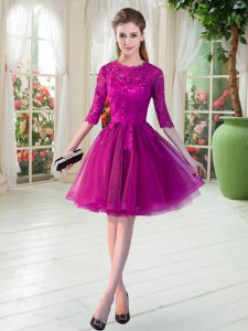 Discount Scalloped Half Sleeves Tulle Evening Gowns Lace Zipper