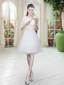 Best Scoop Half Sleeves Pageant Dress Womens Knee Length Lace White Tulle