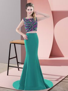 Clearance Backless Pageant Dress Turquoise for Prom and Party with Beading Sweep Train