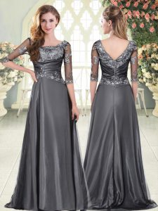 Custom Fit Grey Zipper Sweetheart Beading and Lace Pageant Dress Womens Satin Half Sleeves Sweep Train