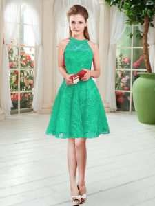 Hot Sale A-line Evening Gowns Turquoise Scoop Sleeveless Knee Length Zipper