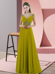 Fantastic Floor Length Empire Cap Sleeves Olive Green Pageant Gowns Backless