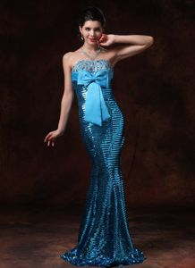 Mermaid Sweetheart Natural Beauty Pageants Dress with Sequins in Blue