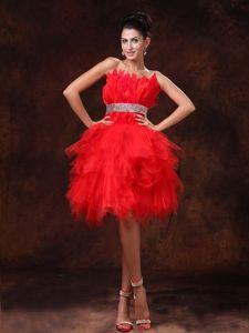 Fabulous Red Strapless Lace-up Floor-length Tulle Pageant Girl Dresses