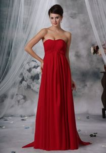 Strapless Wine Red Sweetheart Ruched Chiffon Pageant Dresses in Germany