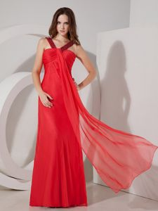 Red Empire V-neck Zipper-up Chiffon Girl Pageant Dress with Ruches in Sedona