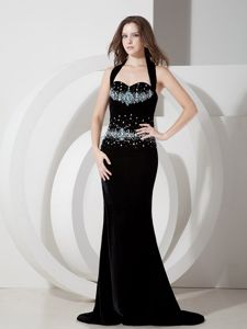 Dressy Mermaid Beaded Halter Top Pageant Dresses for Miss World in Black