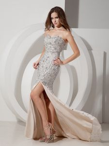 Champagne Mermaid Sweetheart Pageant Dresses for Miss America with Slit