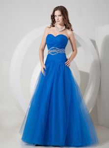 New Blue Ruched Lace-up Sweetheart Pageant Dresses for Girls in Moscow