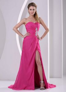 Chicago Hot Pink Sweetheart Chiffon Prom Pageant Dresses with High Slit