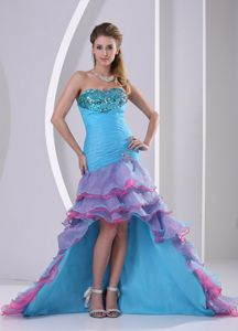 Multi-color Mermaid High-low Organza Youth Pageant Dresses with Ruches