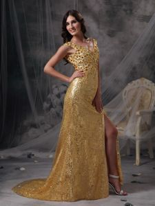 New Gold V-neck Ruched and Beaded Pageant Dress Patterns in Norway