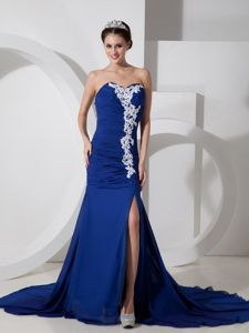 Blue Chiffon Sweetheart Slit Natural Beauty Pageants Dress with Appliques
