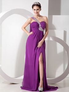 Purple Empire One Shoulder Chiffon Interview Pageant Suits with High Slit