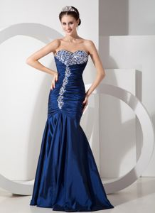 Navy Blue with Ruched and Beaded Mermaid Pageant Girl Dress in Norway