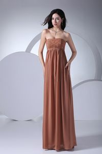 Brown Strapless Floor-length Chiffon Girl Pageant Dress with Beading