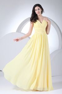 Wonderful Light Yellow Ruched V-neck Long Miss Universe Pageant Dress