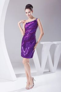 Purple One Shoulder Beaded Pageant Dresses for Miss USA with Sequins