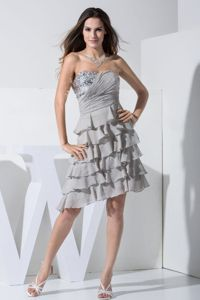 Grey Sweetheart Knee-length Chiffon Pageant Dresses for Girls in Germany