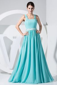 Aqua Blue Chiffon Beaded Beauty Pageant Dresses with Straps in Moscow