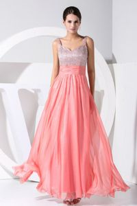 Beaded Straps Watermelon Floor-Length Pageant Dress for Miss World in Mississauga