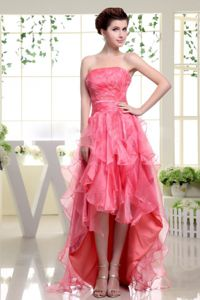 Coral Red Strapless High-Low Beaded Pageant Dress for Prom with Ruffles in Surrey