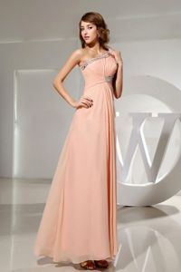 Peach One-Shoulder Floor-Length Ruched Pageant Dress with Appliques in Longueuil