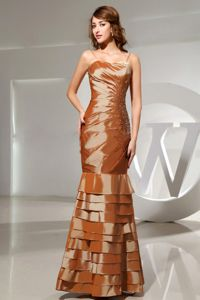 Brown Spaghetti Straps Mermaid Ruched Layered Beauty Pageant Dress with Beading
