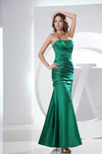 Teal Strapless Ankle-Length Mermaid Ruched Pageant Dress for Prom in Richmond