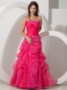 Hot Pink Strapless Princess Beaded Prom Pageant Dress with Pick-ups in Oakville